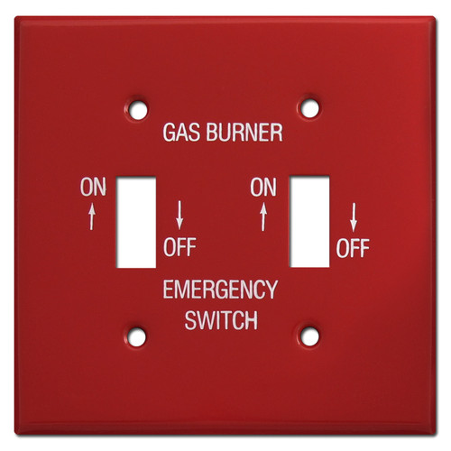 Red Double Toggle Emergency Gas Burner Switch Plates #021