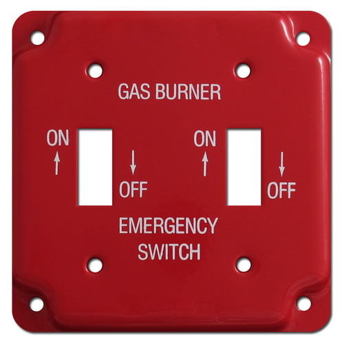 Red Emergency Double Toggle Gas Burner Utility Box Switch Plates #026