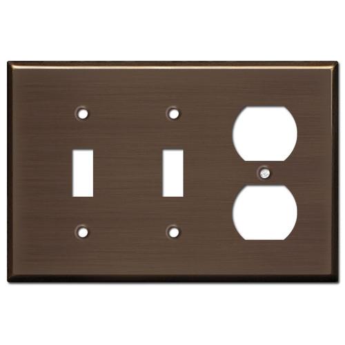 Receptacle 2 Toggle Switchplates - Venetian Bronze