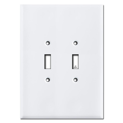 """Ultra Jumbo 7.5"""" Double Toggle Light Switch Covers - White"""
