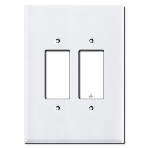 "Super Size 7.5"" Jumbo 2 Decora Rocker Outlet Plates - White"