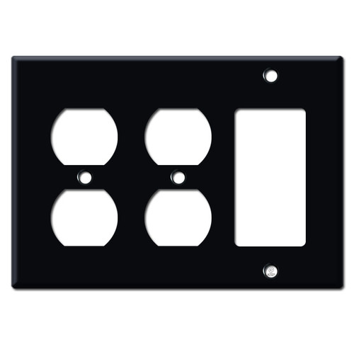 1 Decora 2 Outlet Electrical Switchplate - Black