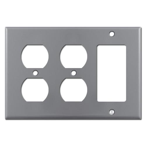1 GFCI Rocker 2 Duplex Receptacle Plate - Gray