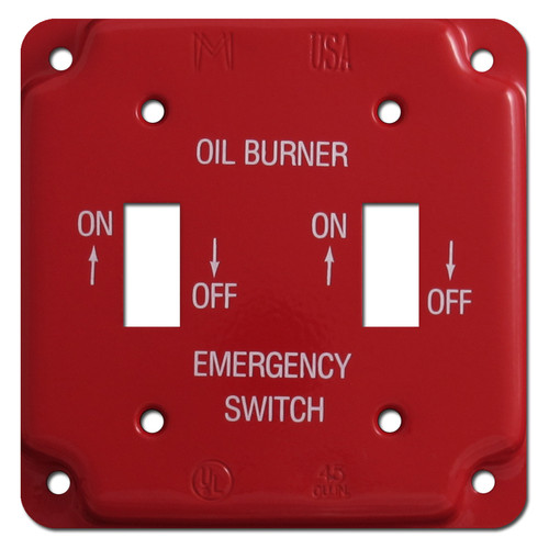 Red Emergency Double Toggle Oil Burner Utility Box Switch Plate #009