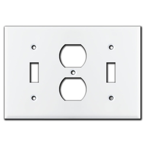 Toggle Duplex Toggle Light Switch Plate - White