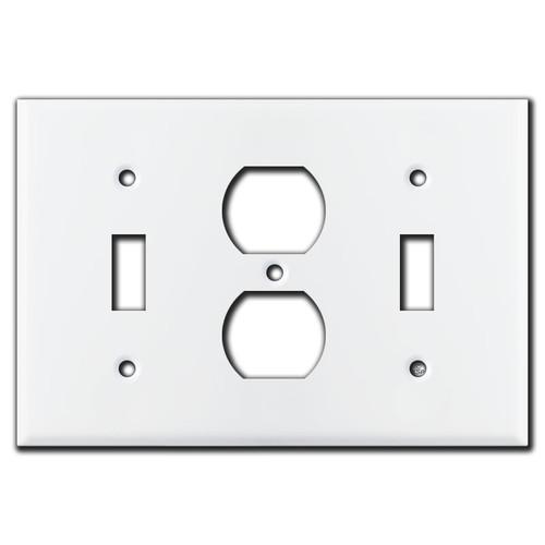 Toggle Duplex Toggle Light Switch Plate - White