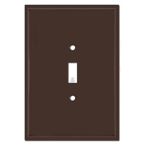 "Extra Big 6.38"" Oversized 1 Toggle Switch Wall Plate - Brown"