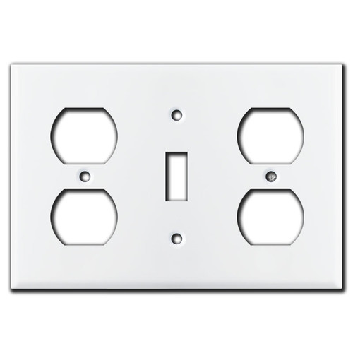Receptacle Toggle Receptacle Wall Plate Cover - White