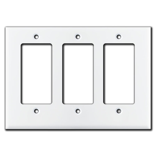 Half Short 3 Rocker Decora Outlet Cover Wall Plate - White