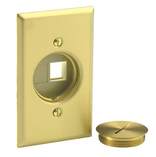 Leviton Floor Box Cover Brass Switch Plate 1-Gang with Screw Cap