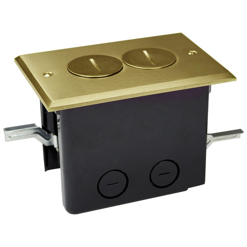 Electrical Floor Boxes - Brass Cover Duplex Outlet Tamper Resistant