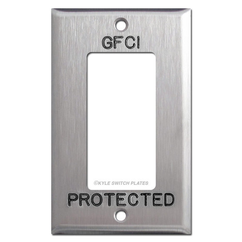 GFCI Engraved Decora Outlet Cover for Protected Location