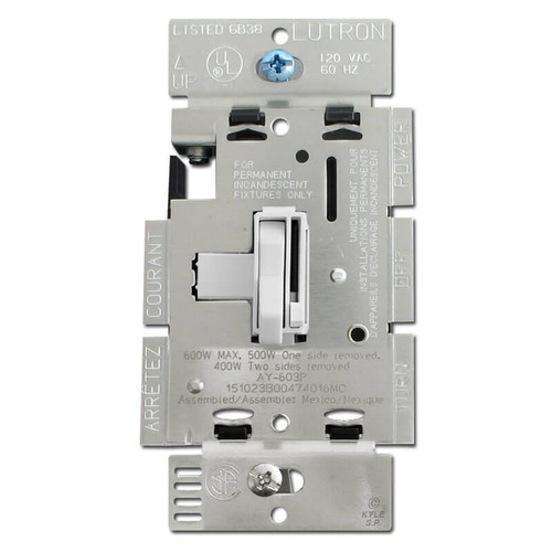 Three Way Toggle Dimmer Light Switch White 600W
