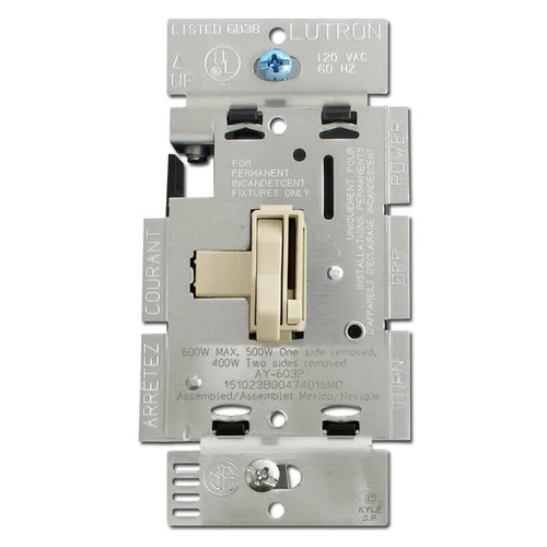 Ivory Toggle Dimming Switch 3-Way 600W