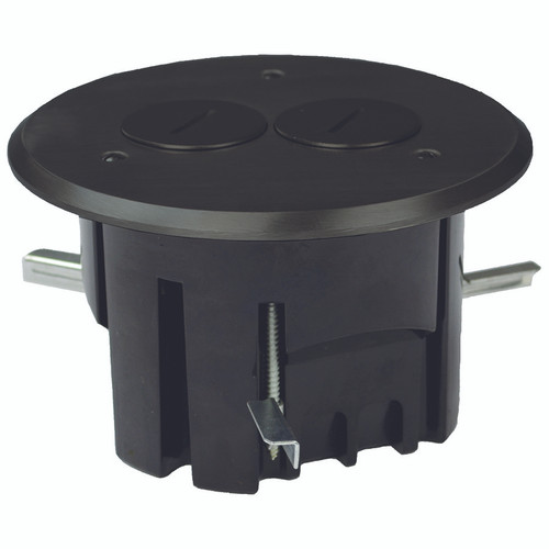 Round In-Floor Electrical Duplex Outlet Box - Dark Bronze