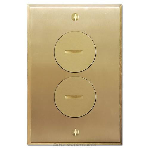 Floor Outlet Covers - Brass Duplex Receptacle Plate