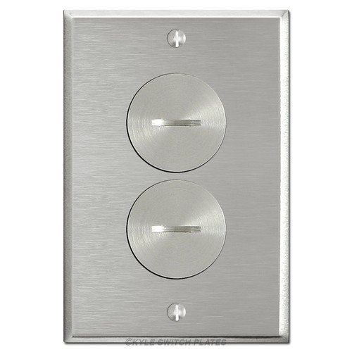 Floor Power Outlet Covers - Nickel Duplex Receptacle Plate