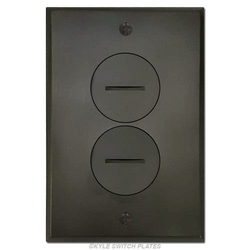 Recessed Floor Outlet Cover -  Duplex Dark Bronze Plated Brass