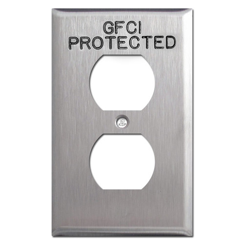 GFCI Engraved Duplex Outlet Covers for Protected Locations