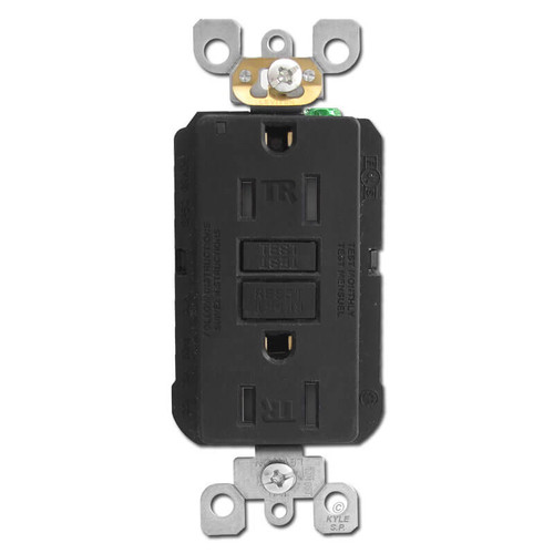 Ground Fault Decora Outlet 15A Tamper Resistant - Black