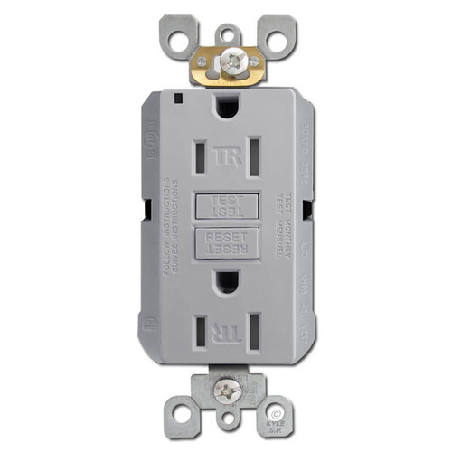 Decora Ground Fault Outlet 15A Tamper Resistant - Gray