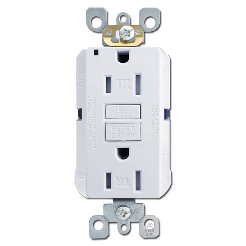 Decora Ground Fault Electrical Outlet 15A Tamper Resistant - White