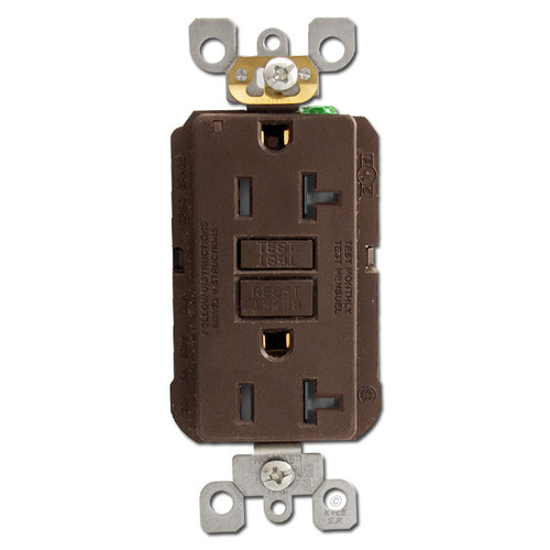 GFCI Tamper Resistant Decora Receptacles 20A - Brown