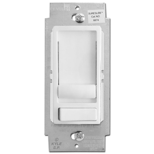 Universal Slide Dimmer LED/CFL Switch 1 Way or 3 Way - White