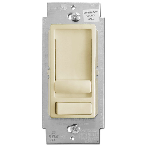 Universal Slide Dimming Switch LED/CFL 1 Way or 3 Way - Ivory
