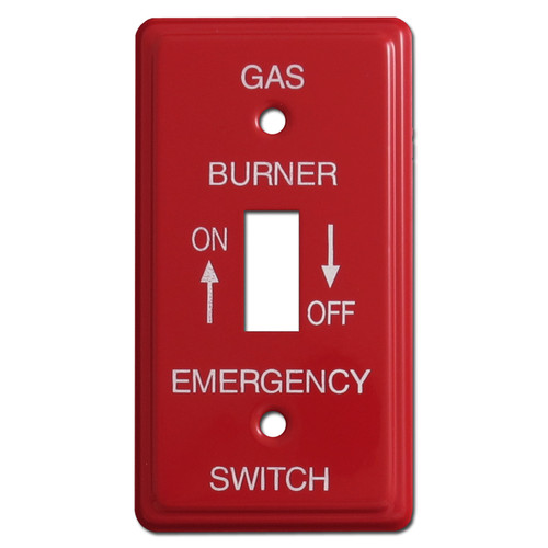 Red Emergency 1 Gang Gas Burner Switch Plates for Utility Box #024