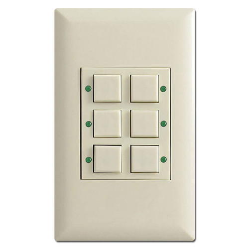 Touchplate Classic 6 Button LED Lighted Low Voltage Switch - Almond