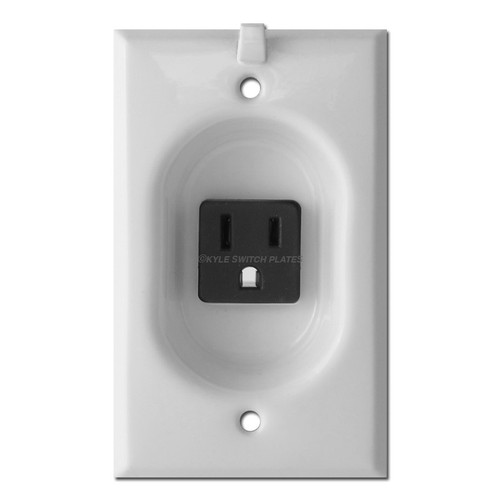 Clock Hanger Recessed Outlet for Flat Panel TV - White