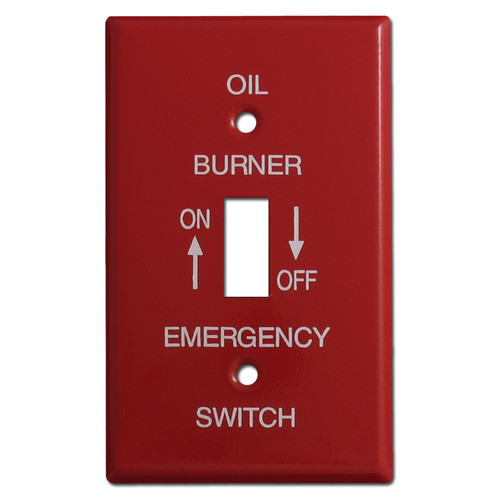 Red Single Toggle Emergency Oil Burner Switch Plate Covers #001