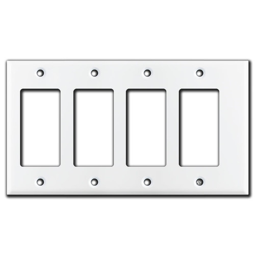 Narrow 4 GFCI Decor Rocker Switch Outlet Covers - White