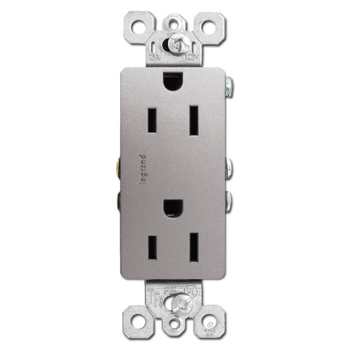 Nickel Outlet Receptacle - Decor Tamper Resistant 15A