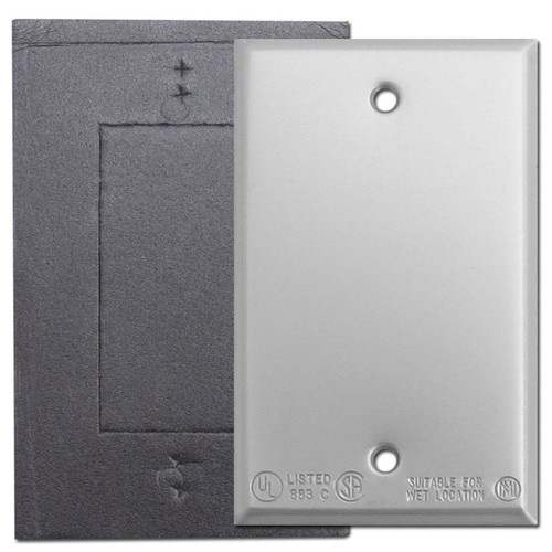 Weatherproof 1 Blank Electrical Switch Plates - Aluminum