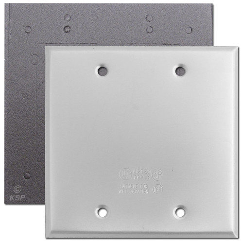 Weatherproof 2 Blank Wall Plate Covers for Wet Locations - Aluminum