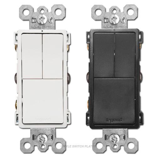 Triple Light Switches Dual S/P + 3-Way Legrand RCD113