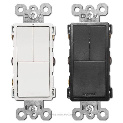 Triple Light Switches Dual S/P + 3-Way Legrand RCD113
