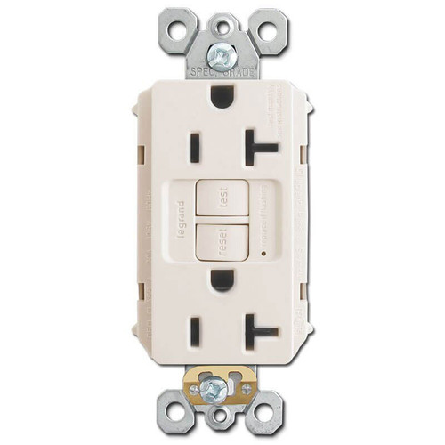 Bathroom Electrical Outlet Self-Test 20A - Light Almond