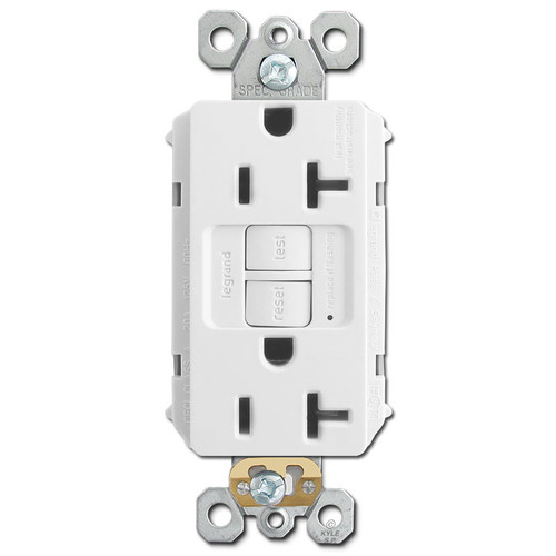 Kitchen Electrical Outlet GFI Self-Test 20A - White