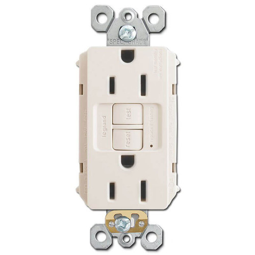 GFCI Protected Outlets Self Test 15A - Light Almond