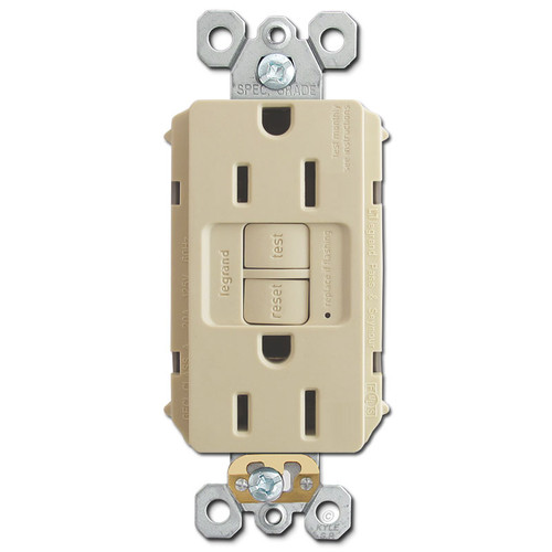 Bathroom & Kitchen GFI Receptacles Self Test 15A - Ivory