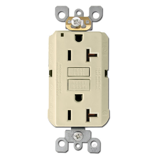Decora GFI Electrical Outlet 20A Self Test - Ivory