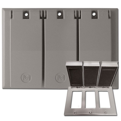 Weatherproof 3 Decor Wall Plate Covers for Wet Locations - Aluminum