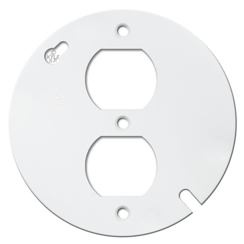 "4"" Round Duplex Receptacle Cover Plate - White"