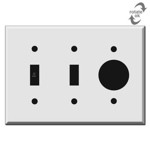 2 Toggle 1 Round Outlet Cover Switch Plate