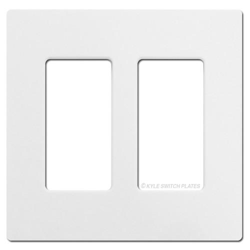 2 Rocker GFCI Screwless Wall Plate Lutron - White Plastic