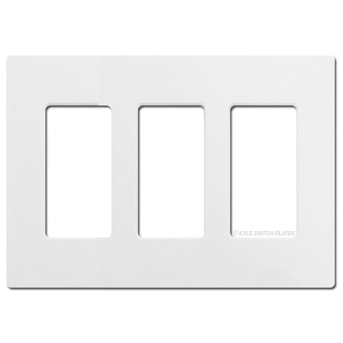 3 Rocker GFCI Screwless Wall Plate Lutron - White Plastic
