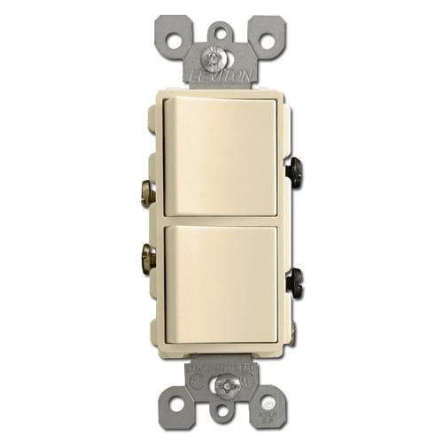 20A Ivory Decora Double Rocker Switch